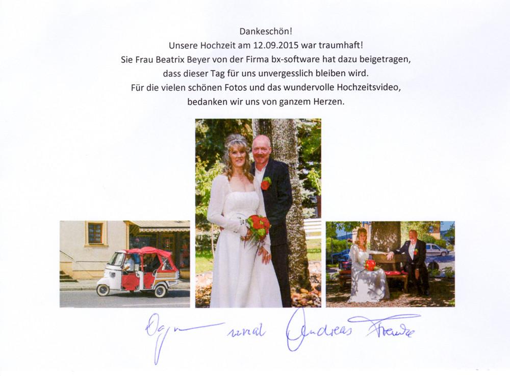 Hochzeit Franke Dankeskarte